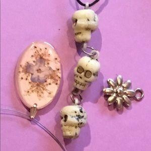 90s skull & pressed flower metal floral necklace